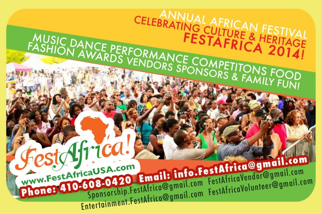 FestAfrica 2014 Flyer AYA Afropolitan Youth Association of Maryland African Festival - 2