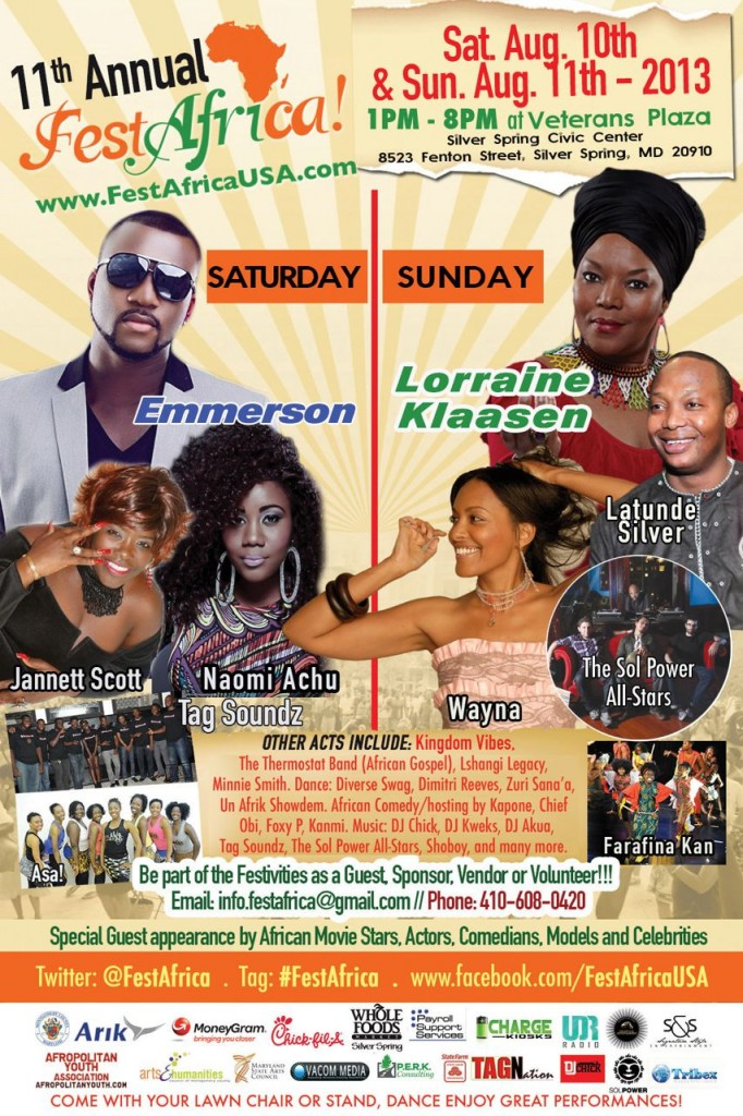 FestAfrica 2013 Flyers AYA African Festival Veterans Plaza Silver Spring Maryland Afropolitan Youth - 2